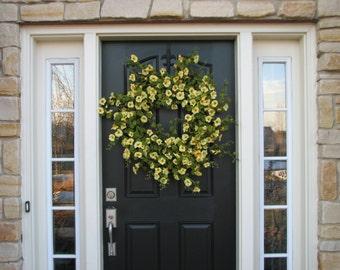 Wreaths, Wreaths, XL Spring Wreath, Wreath,Yellow Petunias, Spring Door Wreaths, Petunia Hanging Basket, Petunias, Summer Wreaths