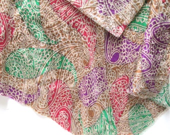 Silk Scarf Shawl Capelet Vintage Paisley Rich Colors Purple Emerald Green Damask Weave Boho Silk Scarf Batwing