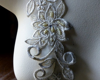 Beaded Lace in Champagne Gold Metallic with Rhinestones no. 2 for Bridal, Sashes, Headbands, Costumes