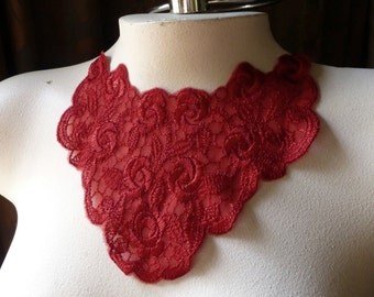 SALE Lace Applique in Lipstick Red for Lyrical Dance, Jewelry Supply,  Costume Design CA 47