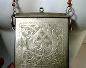 Vintage Moroccan Berber Prayer Box Necklace, Slide Top Koran Holder Pendant, 1969 Purchase, Statement. Islamic, Moslem Protection