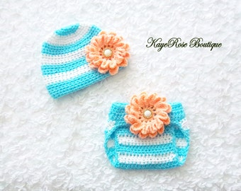 Newborn to 3 Month Old Baby Girl Crochet Flower Hat and Diaper Cover Set Blue and Peach Stripes