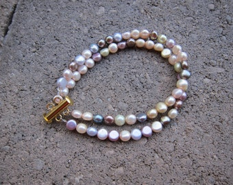 Multi-Color Freshwater Pearls Double Strand Bracelet