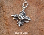 CX5 Tesuque Cross Sterling Silver Southwestern Native Style Pendant or Charm