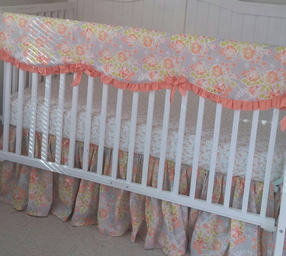 peach and gray bumperless ruffled crib by butterbeansboutique. Black Bedroom Furniture Sets. Home Design Ideas