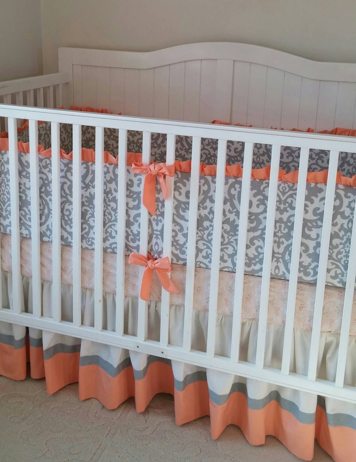 peach cream and gray damask crib bedding by butterbeansboutique. Black Bedroom Furniture Sets. Home Design Ideas