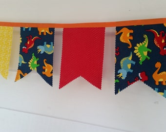 Dinosaur Party Bunting- Baby shower garland- Birthday party dino decorations 9' long garland, includes 17 pennants- item #185 or #186