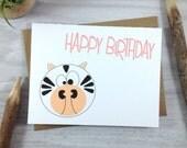 Birthday Card, Happy Birthday Card, Children's Birthday Card, Wild Animal Greeting Card Card, Zebra Card - Single