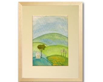 Landscape Painting Folk Art Quilt Art Fabric Collage