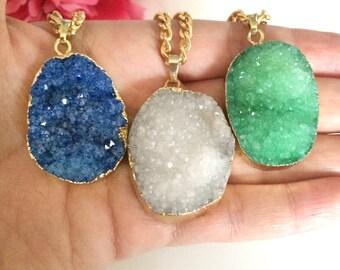druzy agate pendant - statement necklace - druzy necklace - raw gemstone - gold dipped druzy necklace - druzy charm - bohemian chic jewelry