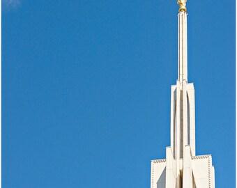 Seattle LDS Temple Fine Art Canvas wrap -Mormon -Washington -American Flag -Angel Moroni
