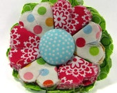 Fabric Flower Pin, Fabric Flower Brooch, raw edge flower, pink, green, aqua- FP20