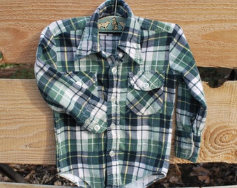 Vintage Plaid Little Boy's Flannel Shirt Little Camper