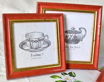 9x9 inch square narrow Red and Gold frame