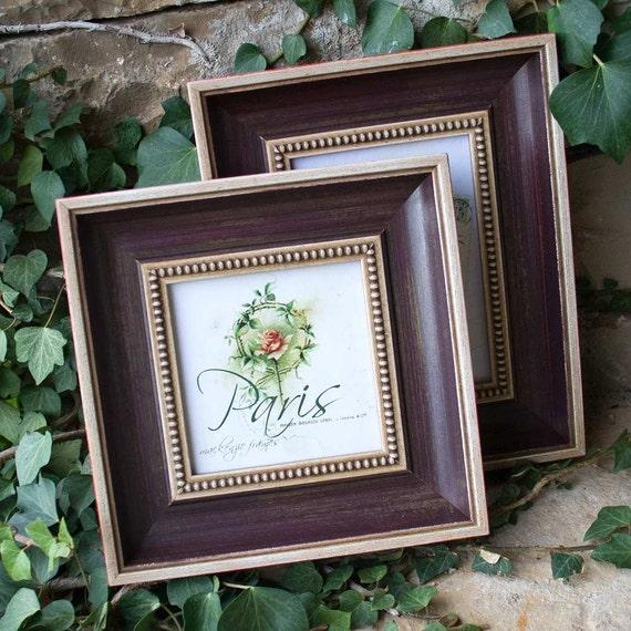 5x5 Cream and Aubergine Antique Style Frame