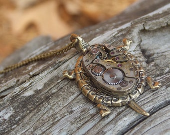 Turtle Necklace Steampunk Necklace Brass Jewelry Turtle Clockworks Vintage Watch Movement