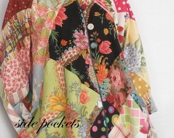 Boho hippie patchwork hooded coat