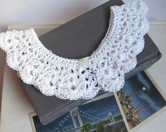 White Crochet Collar Gold Peter Pan Detachable Lace Collar Accessory