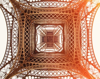 eiffel tower print, paris photography, travel photography, france, paris home decor, pink, gold / under the tower / 8x8 fine art photo