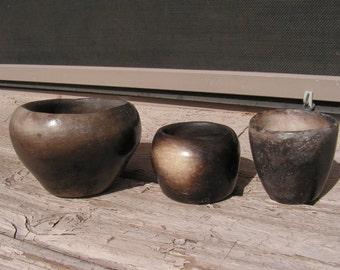 Vintage Pottery Black Clay Pottery Bowls Set Rustic Primitive Hand Formed Ceramic Signed CV