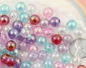 10mm Iridescent Pastel AB Mix Translucent Acrylic or Resin Beads - 100 pc set