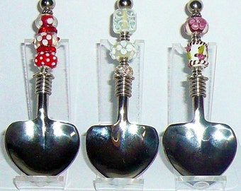 Tea Spoons, Beaded Heart Spoons, Utensil