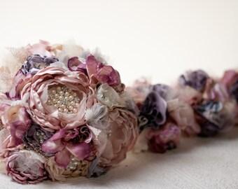 Fabric Wedding Bouquet, Fabric Brooch Bouquet,  bridal flower rhinestone pearl brooches, silk flowers blush victorian lilac champagne broach