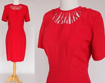 80's Red Sheath Dress / Short Sleeves / Woven Neckline / Small