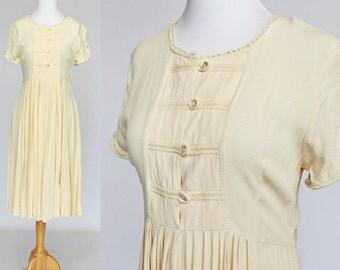 80's  Midi Smock Dress / High Waist / Gathered Skirt / Rayon Crepe / Small