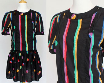 80's / Puff Sleeves Scooter Dress / Black with Bright Stripes & Polka Dots / Small to Medium