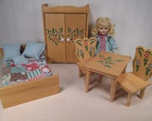Vintage Amanda Jane Doll Furniture for Small to Medium Sized Dolls - Bed Wardrobe Table and Chairs