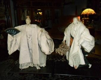 Vintage Samari Dolls Large Daimon & Farmer Indo-malay Rice paper dolls original paperwork Asian Japanese statue