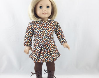 18 Inch Clothing Handmade Knit Tee Shirt Dress Cotton Knit Leggings Chocolate Brown with Multi Colored Dots girls toy