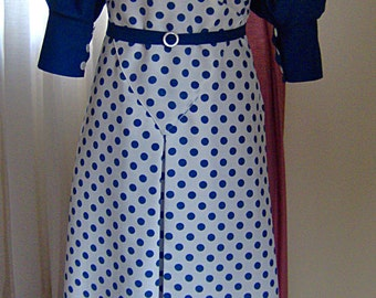 1930's Reproduction Ladies Dress - White Blue Dots - Glamour Girl - Sting - Great Gatsby - Golden Age of Hollywood - The Great Depression