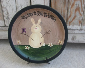 Country Primitive Smell the Flowers Hand Painted Bunny Recycled Plate GCC2218