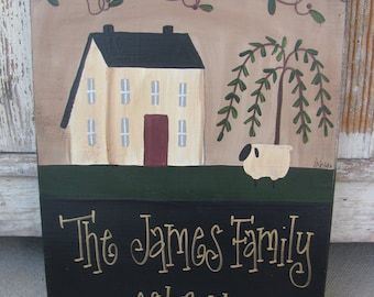 Primitive Saltbox Willow and Sheep Personalized Hand Painted Sign GCC1007