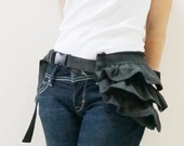 New Year SALE - 20% OFF Gathered Waist Purse in Pre-washed Black / Fanny Pack / Hip Bag / Pouch / Waist Belt / Women / For Her / Gift