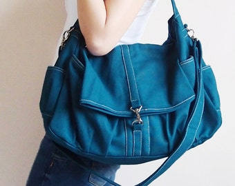 Back To School SALE - 20% OFF Classic in Teal / Messenger / diapers bag / School /Handbags / Hobo / tote / women / For her / Gift Ideas