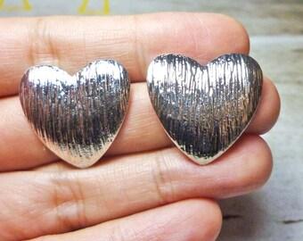 SALE - Texured Heart Stud Earrings - Silver