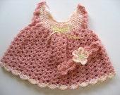 Ready To Ship - Crochet Baby Girl Dress & Head Band - Peach Crochet Baby  Dress and Headband Set  - Size 3 to 6 Months - Summer Baby Dress