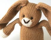"RESERVED for Bonnie - Bigger Toffee Bunny - Hand Knit Organic Cotton Eco Friendly Stuffed Animal - Classic Toy Rabbit, 12"" tall"