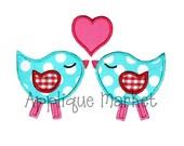 Machine Embroidery Design Applique Love Birds INSTANT DOWNLOAD