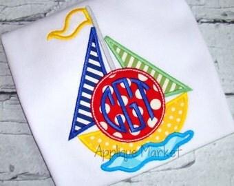 Machine Embroidery Design Applique Sailboat 2 Mono INSTANT DOWNLOAD