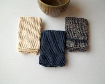 Dish Cloths Knit in Cotton in Periwinkle PeriwinklePlatinum and Off White