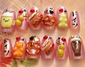 German, kawaii nail, Japanese 3D nail, miniature food, deco nail, Harajuku, gummy bear, beer, potato, gyaru, funny gift, novelty, funny nail