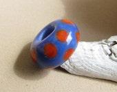 University of Florida Orange and Blue Big Hole Bead, Handmade Lampwork by Harleypaws, SRA