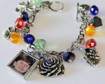 New grandma gift, mom bracelet, photo charm bracelet, custom bracelet personalize, 70th birthday, anniversary gift, remembrance bracelet