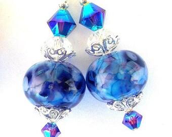 Blue and purple earrings, artisan lampwork blue glass and crystal earrings, sterling silver earwires