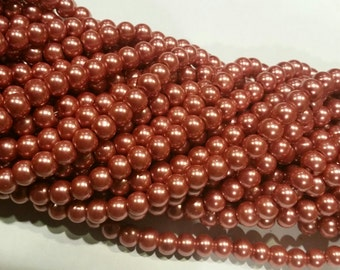 8mm Antique Rose 2 Glass Pearl Beads - 32 inch strand