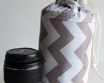 NEW Grey Chevron Lens Luggage (ready to ship) - large